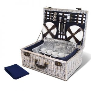 Deluxe Wicker 6 Person Picnic Basket and Cooler Bag
