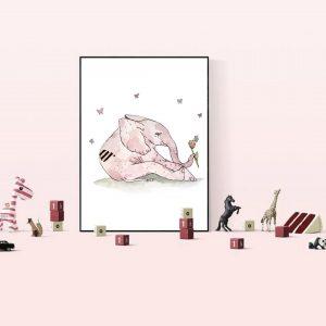 Baby Elephant Nursery Wall Print