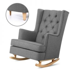 Rocking Armchair Feeding Chair Linen Fabric Armchairs Lounge Retro Grey