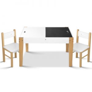 Kids White and Natural Table and Chairs Set