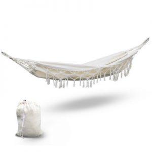 Cream Hanging Tassel Hammock Swing Bed
