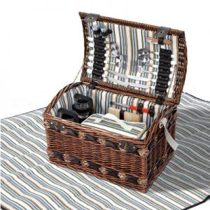 Wicker Picnic Basket and Blanket